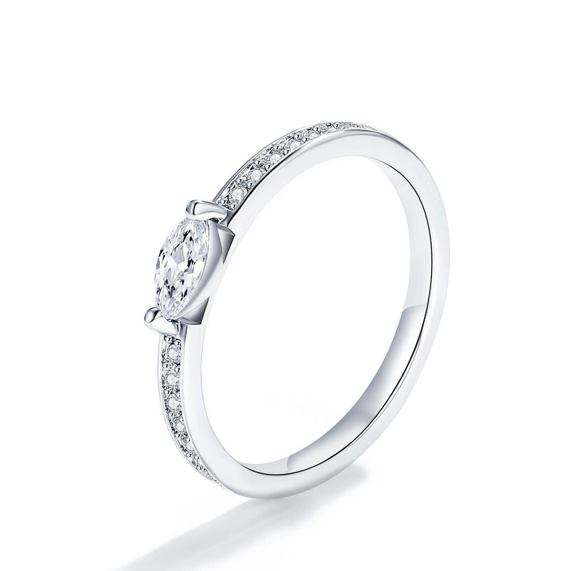 Sterling Silver Marquise Half Eternity Ring Engagement Wedding Band Stackable