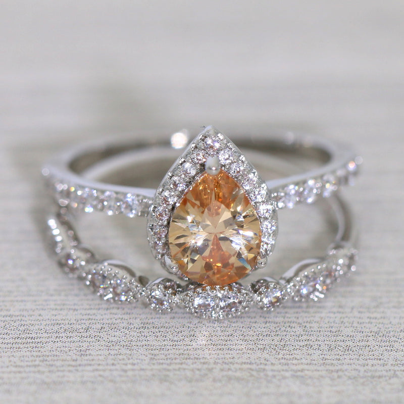 Pear Shaped Champagne Bridal Ring Set with Milgrain Details Teardrop CZ Ring