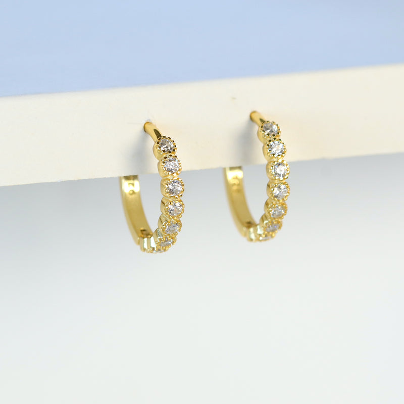 Tiny Bezel Setting Diamond CZ Huggies Hoop Earring Silver Gold Vermeil