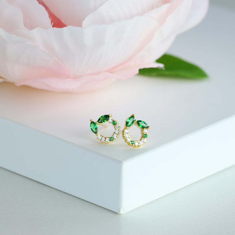 Dainty Green Stud Earring Marquise Cut Emerald Green Gold Studs May Birthstone Stud