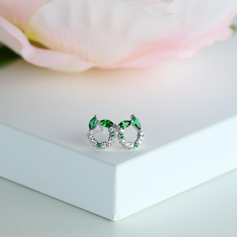 Green Stud Earring Marquise Cut Emerald Green Sterling Silver Studs May Birthstone Stud