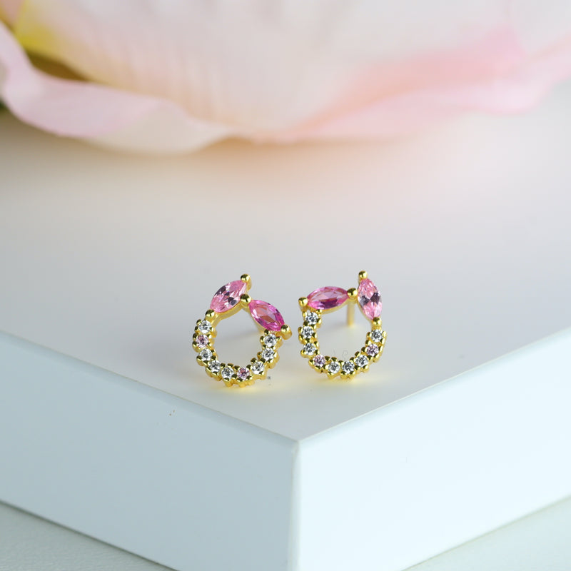 Pink Stone Stud Earring Marquise Cut Pink Studs Silver Gold May Birthstone Stud
