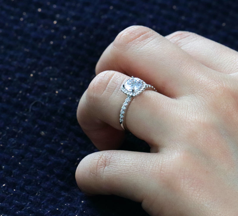 1.35cttw Brilliant Round Cut Halo Engagement Ring in Sterling Silver