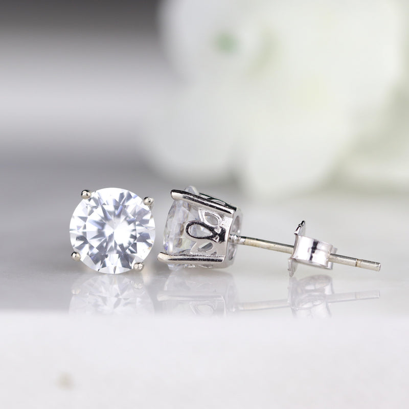 Large 7mm Diamond Sterling Silver Lotus Flower Stud Earrings Everyday Studs