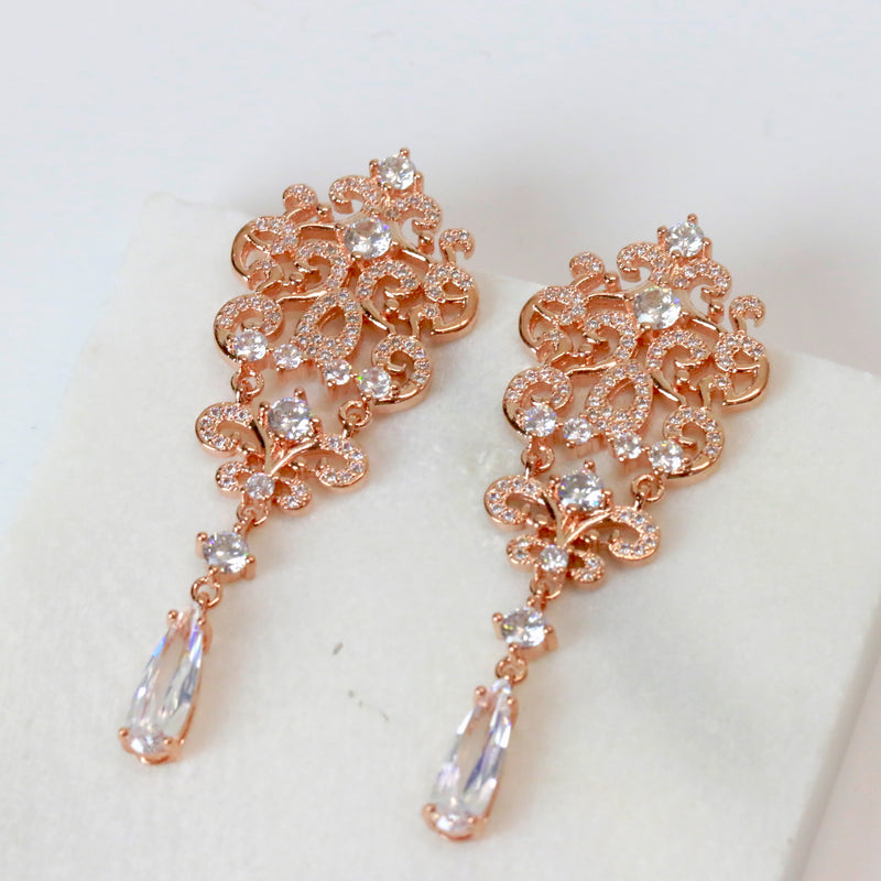 Chandelier Bridesmaid Drop Earrings Wedding Prom Party Rose Gold Silver