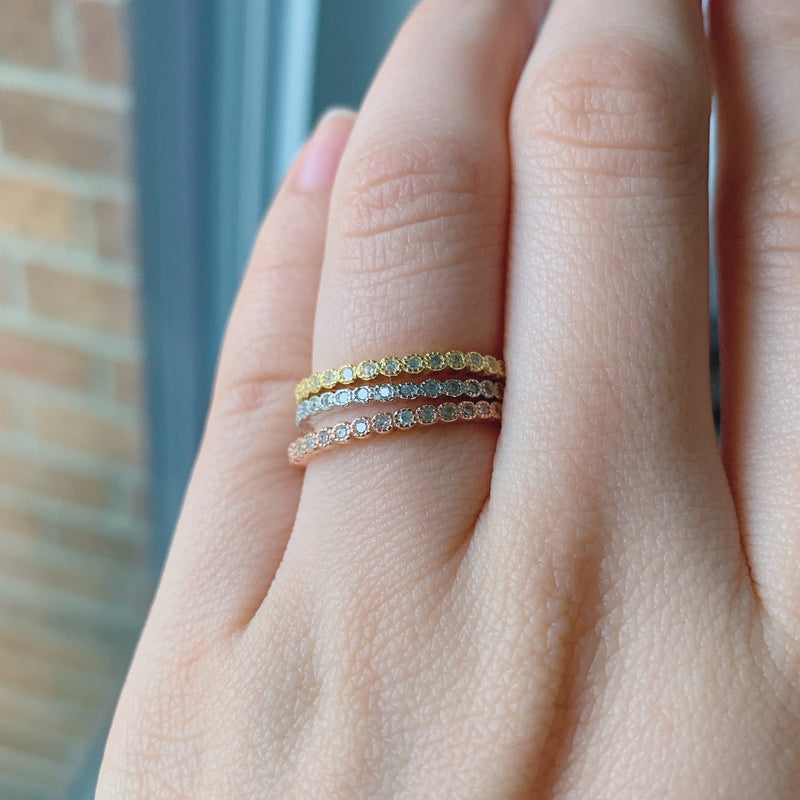 Gold Bezel Set Full Eternity Band Stacking Ring Minimalist Stackable Ring