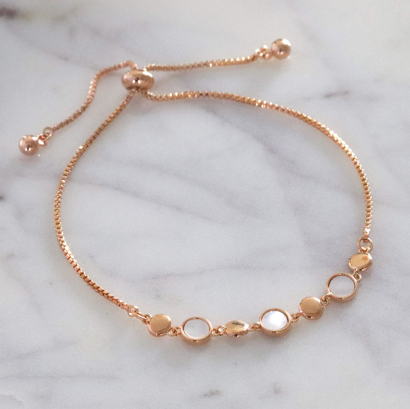Mother Pearl Round Discs Bracelet Drawstring Adjustable Closure RoseGold Silver