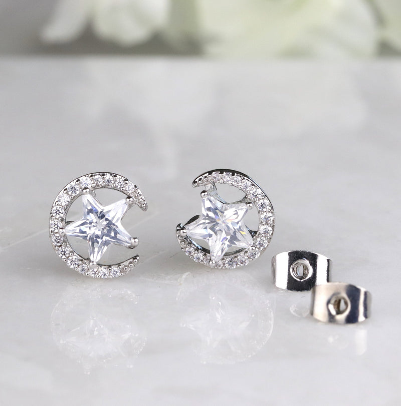 Moon and Star Studs Celestial Earring Crescent Moon Jewelry Simple Silver Studs