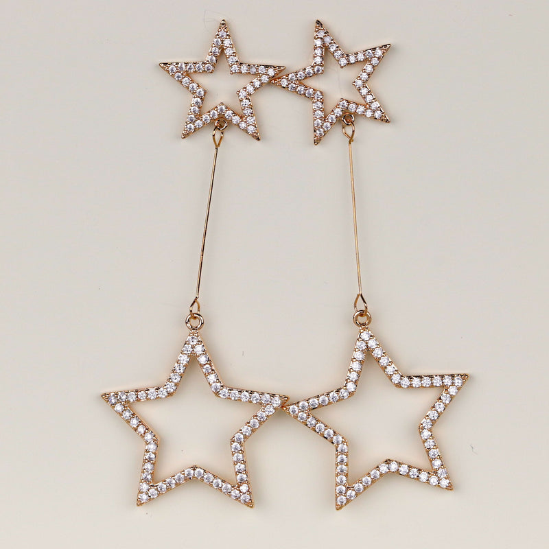 Large Rose Gold Star Earrings Celestial Earring Gold Drop Earring Star Jewelry
