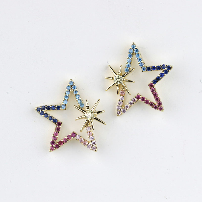Multicolor Star Studs Gold Celestial Star Studs Everyday Gold Studs