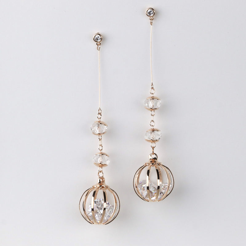Long Cage Ball Drop Earring Rose Gold Silver Dangle Boho Statement Earrings