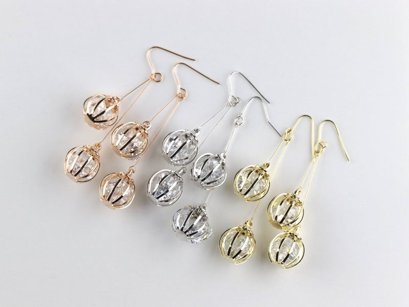 Double Cage Ball Drop Earring Rose Gold Silver Dangle Boho Statement Earrings