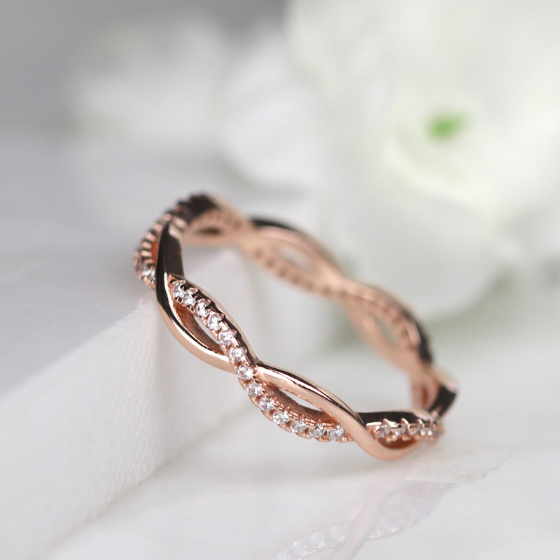 Rose Gold Vermeil Infinity Twisted Full Eternity Ring Wedding Band Stack Ring