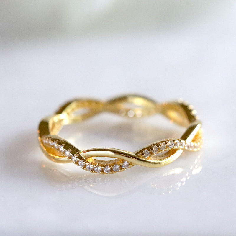 Gold Vermeil Infinity Twisted Full Eternity Ring Wedding Band Stack Ring