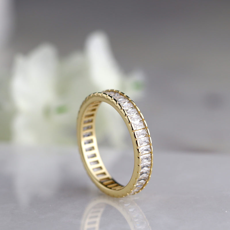 Gold Baguette Full Eternity Band Rose Gold Stacking Ring Everyday Ring
