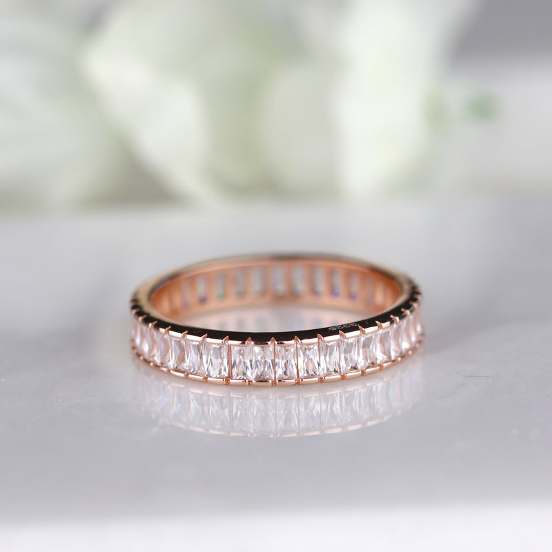 Rose Gold Baguette Full Eternity Band Rose Gold Stacking Ring Everyday Ring