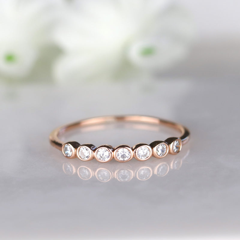 Rose Gold Seven Stone Bezel Set Stackable Ring Everyday Ring Sterling Silver