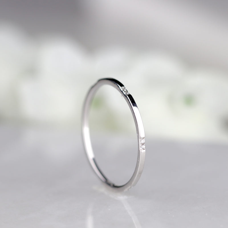 Dainty 1mm Thin Silver Stacker Thin Gold Band Minimal Gold Stacking Ring