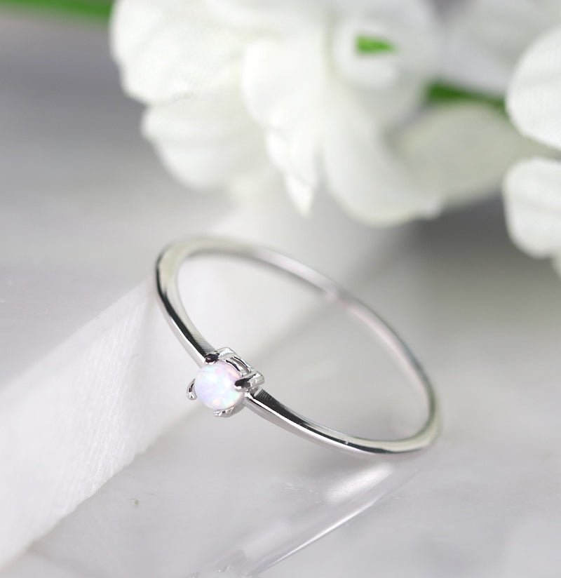 Dainty Sterling Silver Opal Ring Solitarie Opal Ring Stack Ring Minimalist Ring