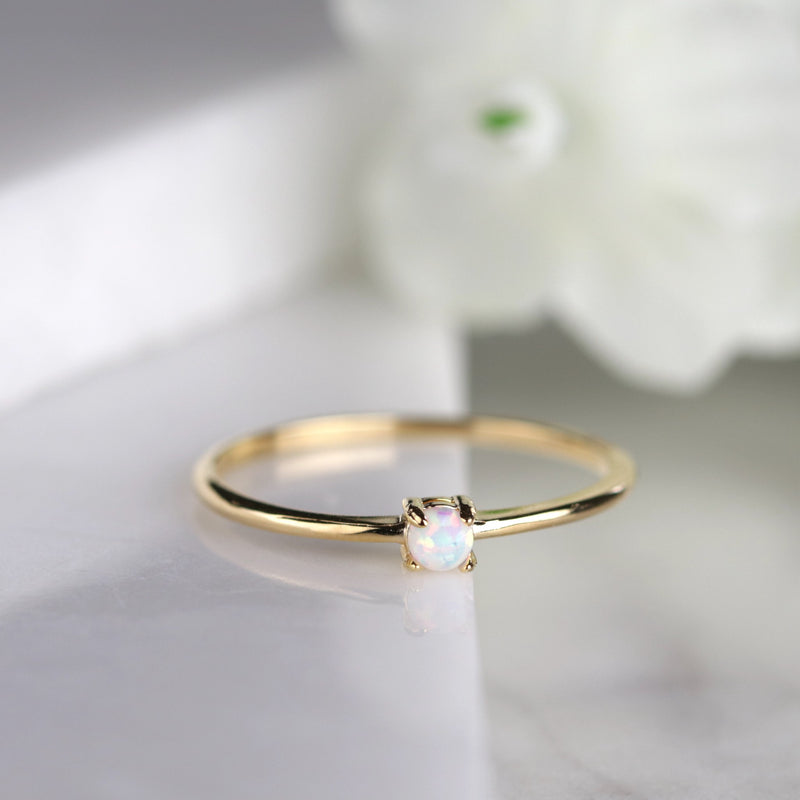 Dainty Gold Opal Ring Solitarie Opal Ring Stacking Ring Minimalist Ring
