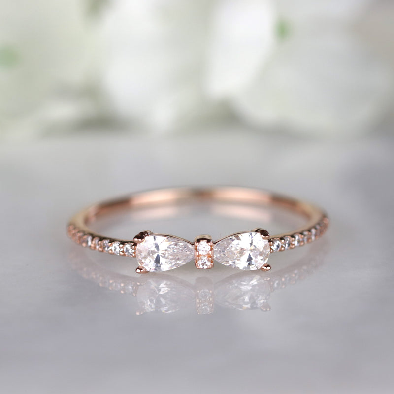 Rose Gold Bow Ring Silver Bow Tie Half Eternity Ring Stack Ring Minimalist Ring
