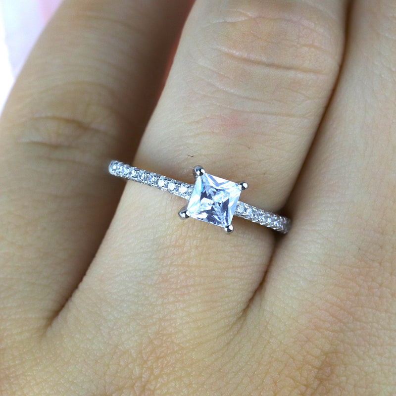 Princess Cut Square Sterling Silver Engagement Ring Promise Ring Wedding Band