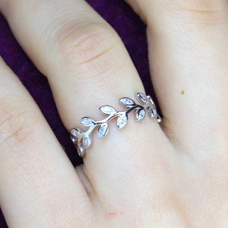 Sterling Silver Leaf Full Eternity Ring Women Statement Ring Made in USA
