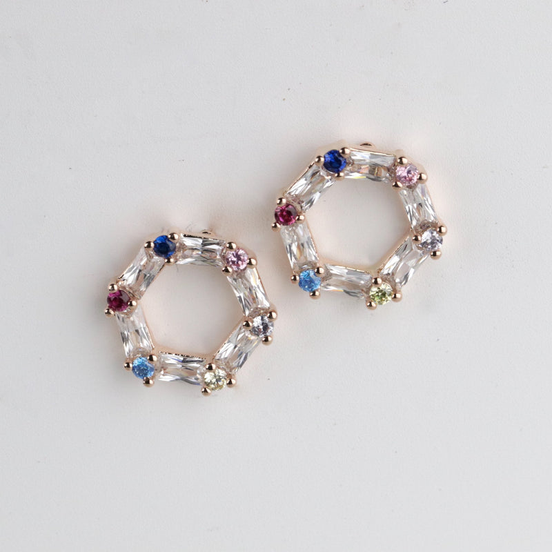 Multicolor Hexagon Stud Earrings Rainbow Studs Rose Gold Studs Minimalist