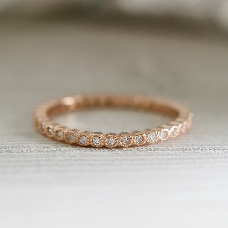 Rose Gold Bezel Set Full Eternity Band Stacking Ring Minimalist Stackable Ring