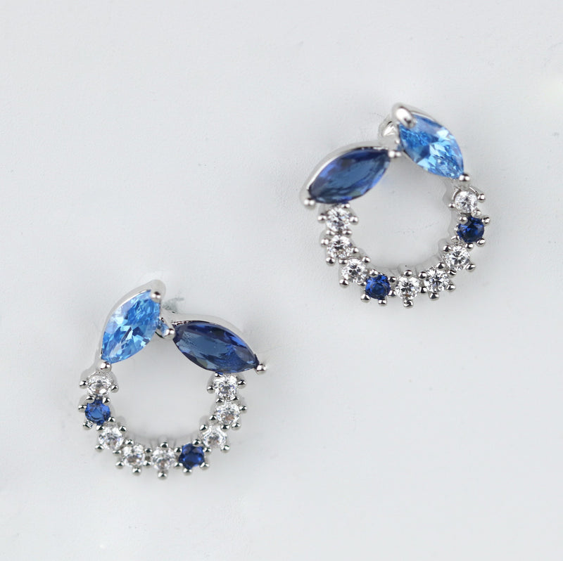 Marquise Cut Sapphire Aquamarine Blue Sterling Silver Round Stud Earrings