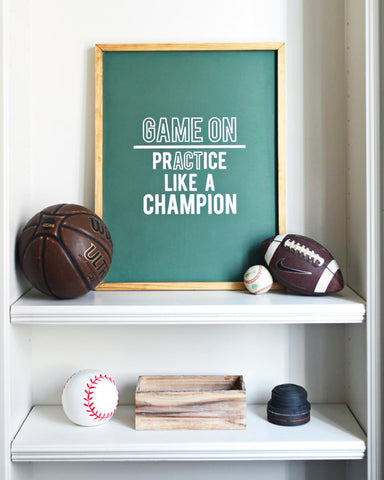GAME ON WOOD SIGN
