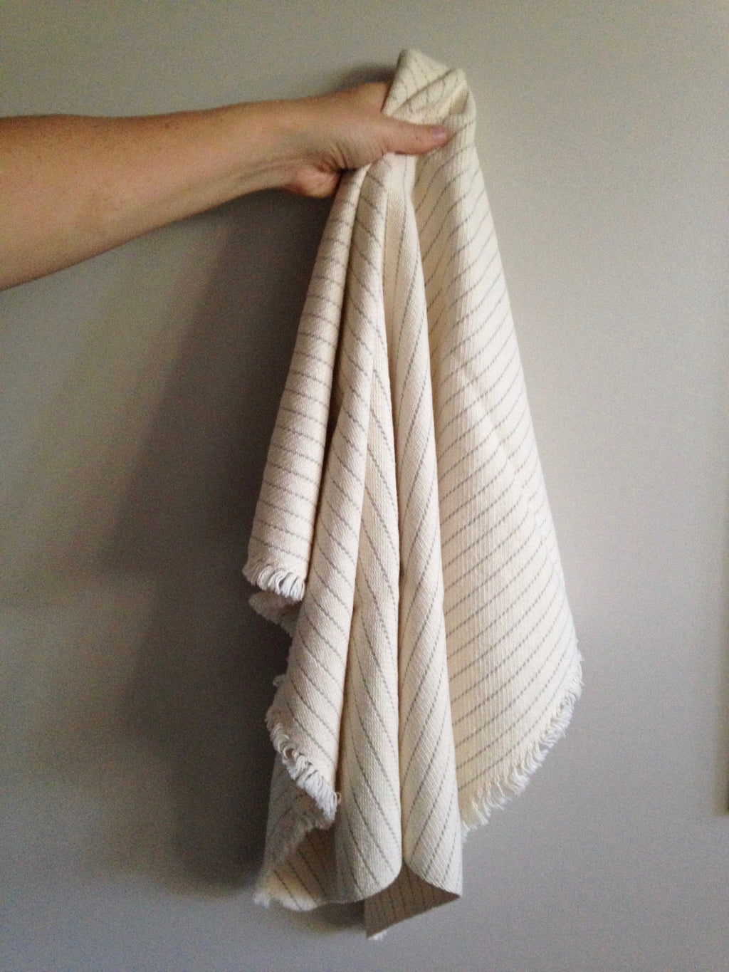 cotton and linen handwoven towel by Gently Woven