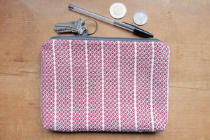 burgundy handwoven pouch by gently woven