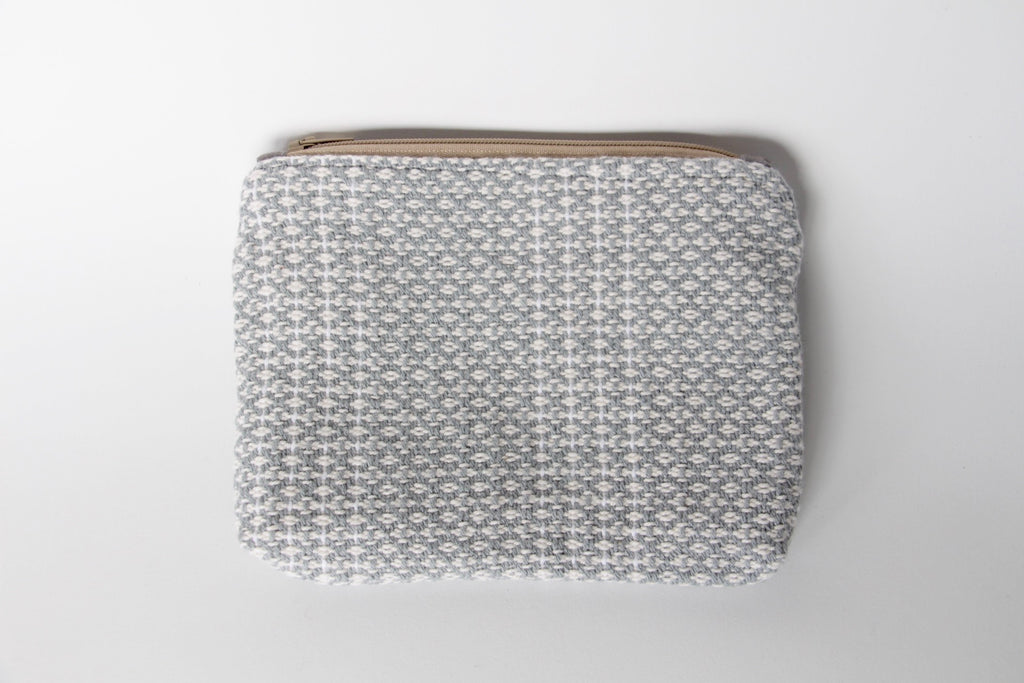 handwoven grey pouch by gently woven