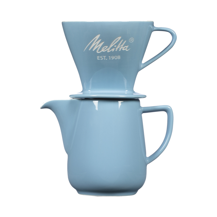 Heritage Series Pour-Over™ Coffeemaker, Porcelain Brew & Serve Carafe Set (2.5 cups) - Pastel Blue