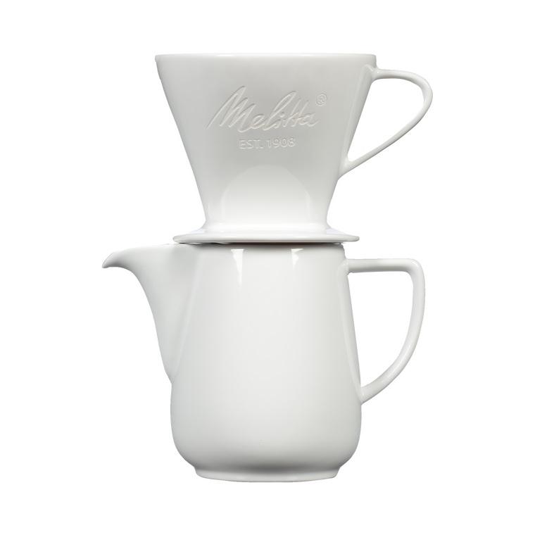 Heritage Series Pour-Over™ Coffeemaker, Porcelain Brew & Serve Carafe Set (2.5 cups) - White