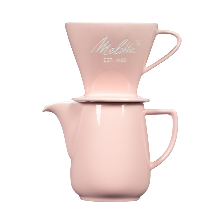 Heritage Series Pour-Over™ Coffeemaker, Porcelain Brew & Serve Carafe Set (2.5 cups) - Pastel Pink