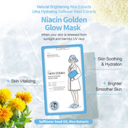 Twin Derma Niacin Golden Glow Mask for Brightening, Moisturizing, Soothing & Vitalizing