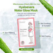 Twin Derma Hyaloevera Water Glow Mask for Soothing, Moisturizing, Cooling & Vitalizing