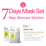 Ariul Natural Sheet Mask Pack, 7 Days Mask Set Day 1 Natural Green Tea Sheet Mask