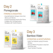 Ariul Natural Sheet Mask Pack, 7 Days Mask Set Day 2 Natural Pomegranate Sheet Mask, Day 3 Natural Bamboo Water Sheet Mask
