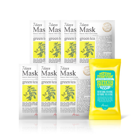 Ariul Natural Green Tea Sheet Mask Pack, 7 Days Mask Set Green Tea Natural Sebum Control & Peeling (Exfoliating) Sheet Mask