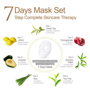 Ariul Natural Lemon Sheet Mask Pack, 7 Days Mask Set Green Tea, Pomegranate, Bamboo Water, Tea Tree, Aloe, Avocado, Lemon