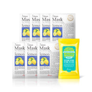 Ariul Natural Lemon Sheet Mask Pack, 7 Days Mask Set Natural Lemon Sheet Mask for Brightening & Smoothing