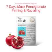 Ariul Natural Pomegranate Sheet Mask Pack, 7 Days Mask Natural Pomegranate Sheet Mask for Firming & Radiating