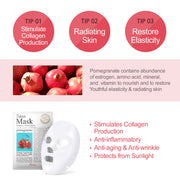 Ariul Natural Pomegranate Sheet Mask Pack, 7 Days Mask Natural Pomegranate Sheet Mask for Firming & Radiating, contains abundance of estrogen, amino acid, mineral, and vitamin to stimulate collagen production, restore elasticity, anti-aging, anti-wrinkle, anti-inflammatory, protect from sunlight damage