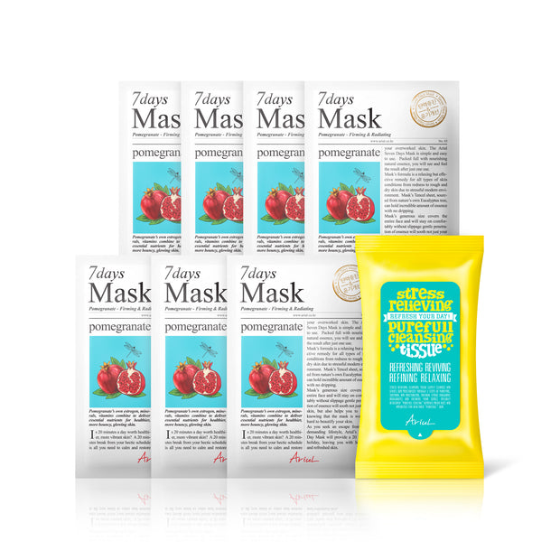 Ariul Natural Pomegranate Sheet Mask Pack, 7 Days Mask Set Natural Pomegranate Sheet Mask for Firming & Radiating