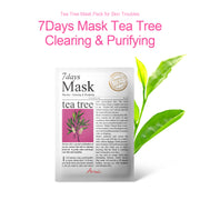 Ariul Natural Tea Tree Sheet Mask Pack, 7 Days Mask Natural Tea Tree Sheet Mask for Clearing and Purifying