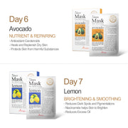 Ariul Natural Sheet Mask Pack, 7 Days Mask Set Day 6 Natural Avocado Sheet Mask, Day 7 Natural Lemon Sheet Mask