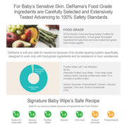 DeRama Baby Water Wipes, Wet Tissues, Signature Baby Wet Wipes 62 X 10 Packs, 99.5% Water-Based, 0.5% FDA Food Grade Nutrients